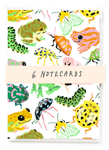 Bugs + Frogs Notecards x6