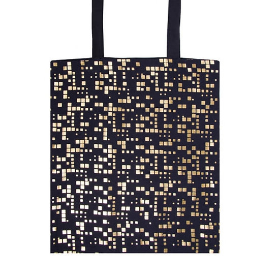 Navy Gold Squares Tote bag
