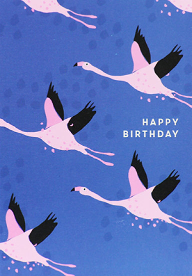 Flying Flamingos Birthday Card
