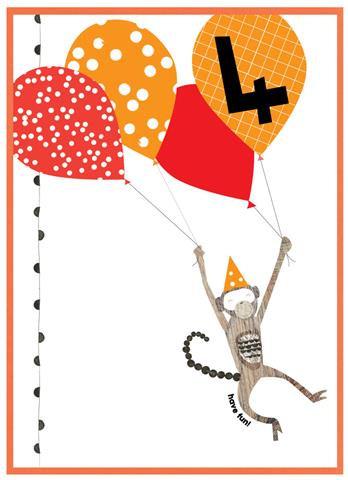 Age 4 Monkey Card