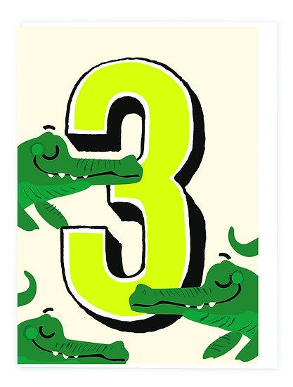 Age 3 Crocodile Card