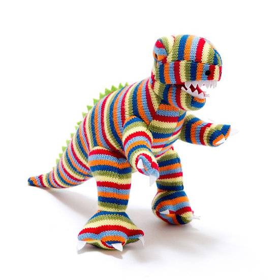 Stripey Knitted T- Rex Rattle