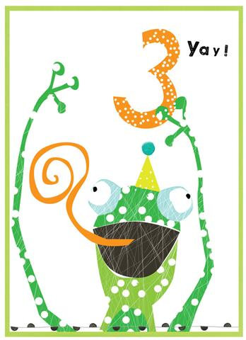 Age 3 Frog Card