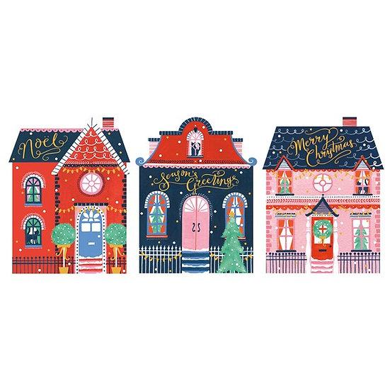 Christmas Houses Card Set