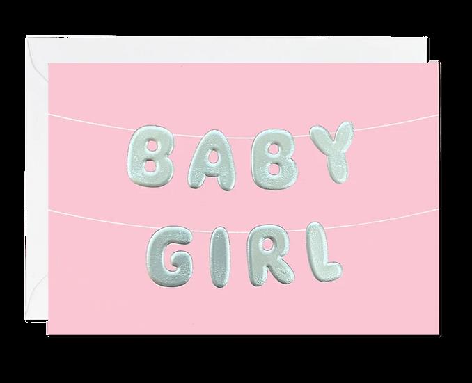 Baby Girl Balloons Card