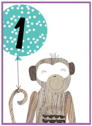 Age 1 Monkey Card