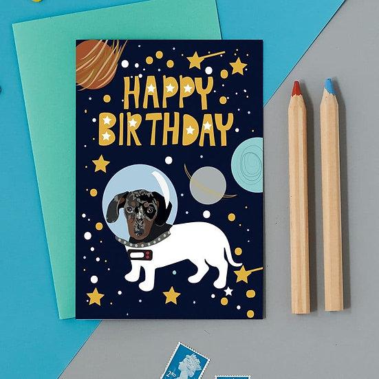 Astro Sausage Dog Card