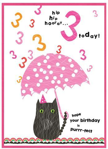 Age 3 Cat Card