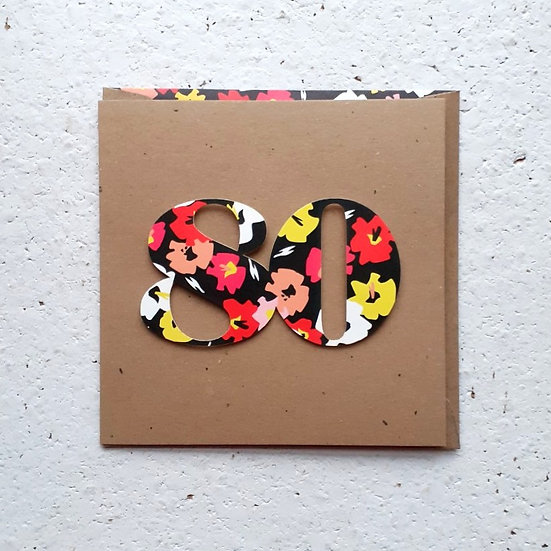 Floral 80 Card