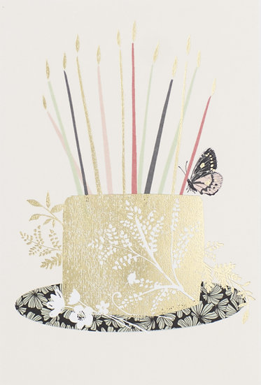 Gold Cake and Candles Card