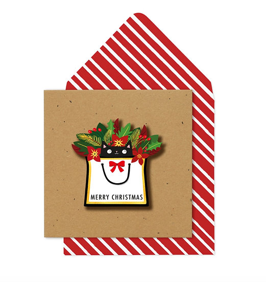 Gift Cat Christmas Card