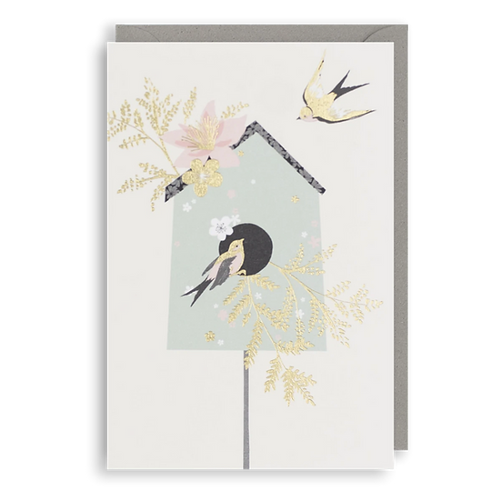 Gold Bird House Card