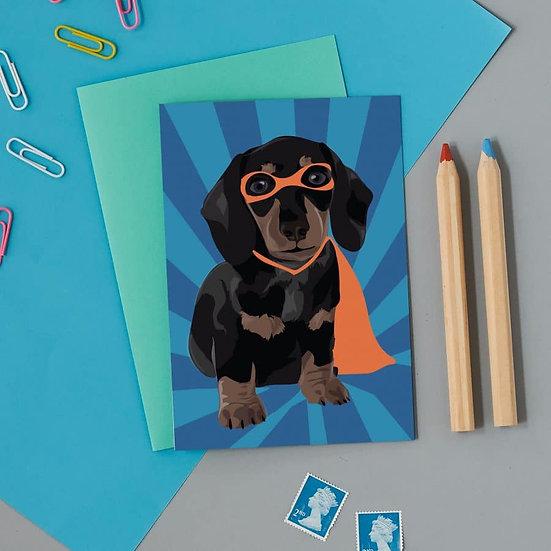 Superhero Sausage Dog Card