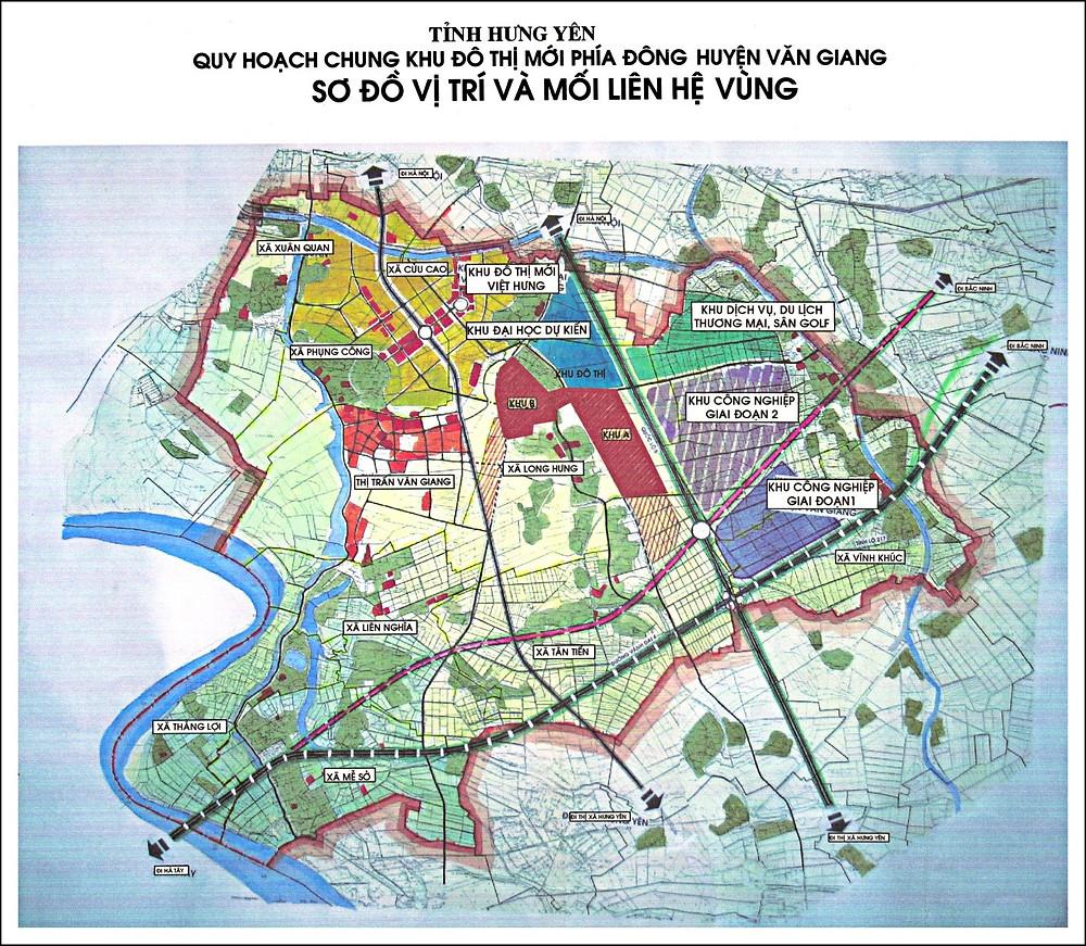 (Ảnh: Quy hoạch tổng thể KĐT mới phía Đông huyện Văn Giang – Hưng Yên)