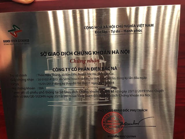(Chứng nhận niêm yết chứng khoán Công ty CP Điện Bắc Nà – EBA)