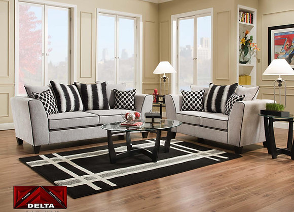 GREY DELTA 2PC SOFA  ,LOVE