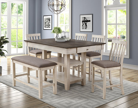 White Wash 6pc Dining Group