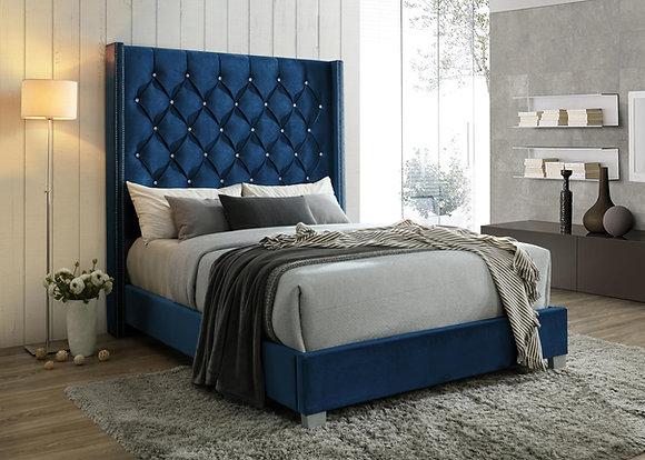 Royal Blue Tufted Bed
