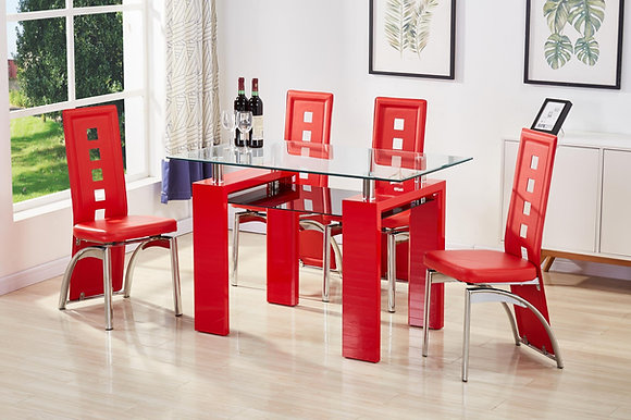 Brey Red 6pc Dining Set