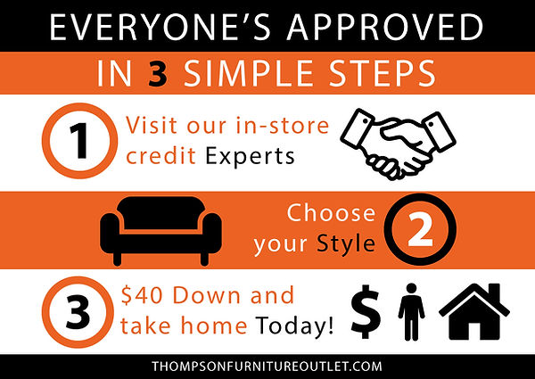 THOMPSON FURNITURE OUTLET EVERONES APPROVED FOR CREDIT $40 DOLLARS DOWN THOMPSONFURNITUREOUTELT.COM