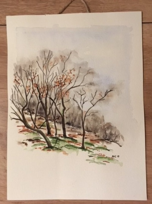 Akvarel - vinterlandskab