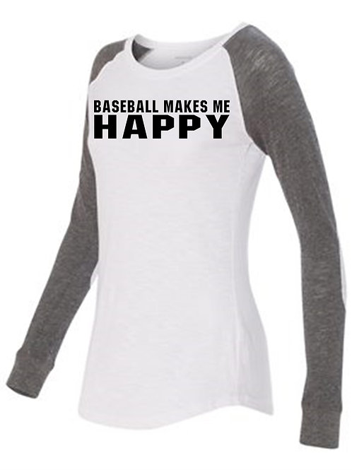 Women's Preppy Patch Slub T-Shirt- Baseball