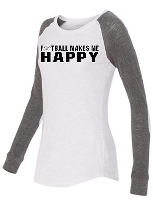 Women's Preppy Patch Slub T-Shirt- Football