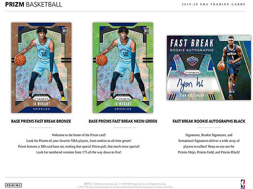 NBA 2019-20 Panini PRIZM FAST BREAK box #NBA #ZION #八村塁 #JaMorant