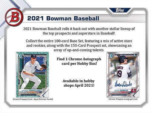 MLB 2021 BOWMAN HOBBY box #BOWMAN #TOPPS #MLB