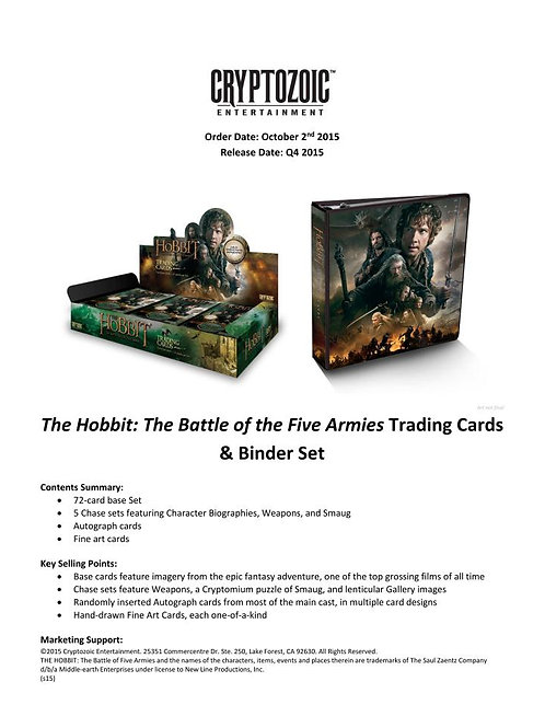 映画トレカ 2015 Cryptozoic The Hobbit Battle of the Five Armies