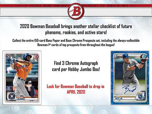 MLB 2020 BOWMAN JUMBO Baseball box #TOPPS #BASEBALL #MLB #Bowman