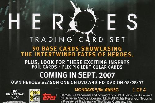 2007 TOPPS HEROES Season1 hobby box #TOPPS #海外ドラマ #HEROES