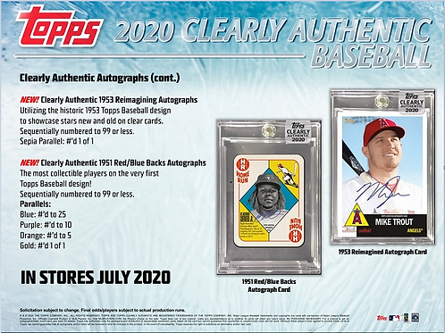 MLB 2020 TOPPS Clearly Authentic box #TOPPS #BASEBALL #MLB #BoBichette
