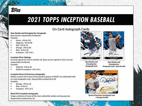 1人2箱制限 MLB 2021 TOPPS INCEPTION Baseball box #トップス #野球カード #メジャーリーグ