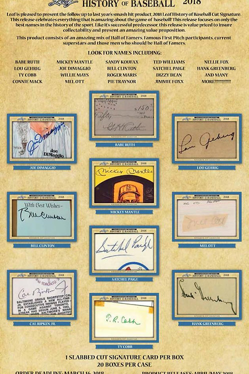 MLB 2018 LEAF HISTORY OF BASEBALL CUT SIGNATURE box