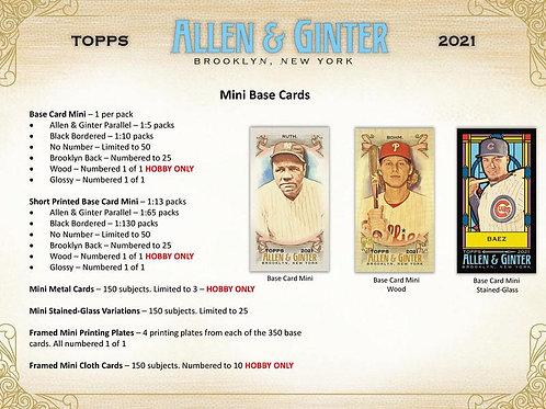 MLB 2021 TOPPS ALLEN AND GINTER HOBBY Baseball box #TOPPS #野球カード #メジャーリーグ