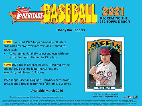 MLB 2021 TOPPS HERITAGE box #BASEBALL #TOPPS #MLB