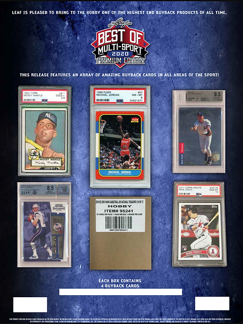BGB1246 2020 LEAF BEST OF MULTI PREMIUM 1case 4-HITS DRAFT #TomBrady #Jordan