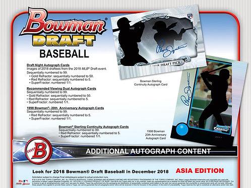 MLB 2018 BOWMAN DRAFT ASIA Baseball 1CASE 12BOX #Topps #BOWMANDRAFTASIA