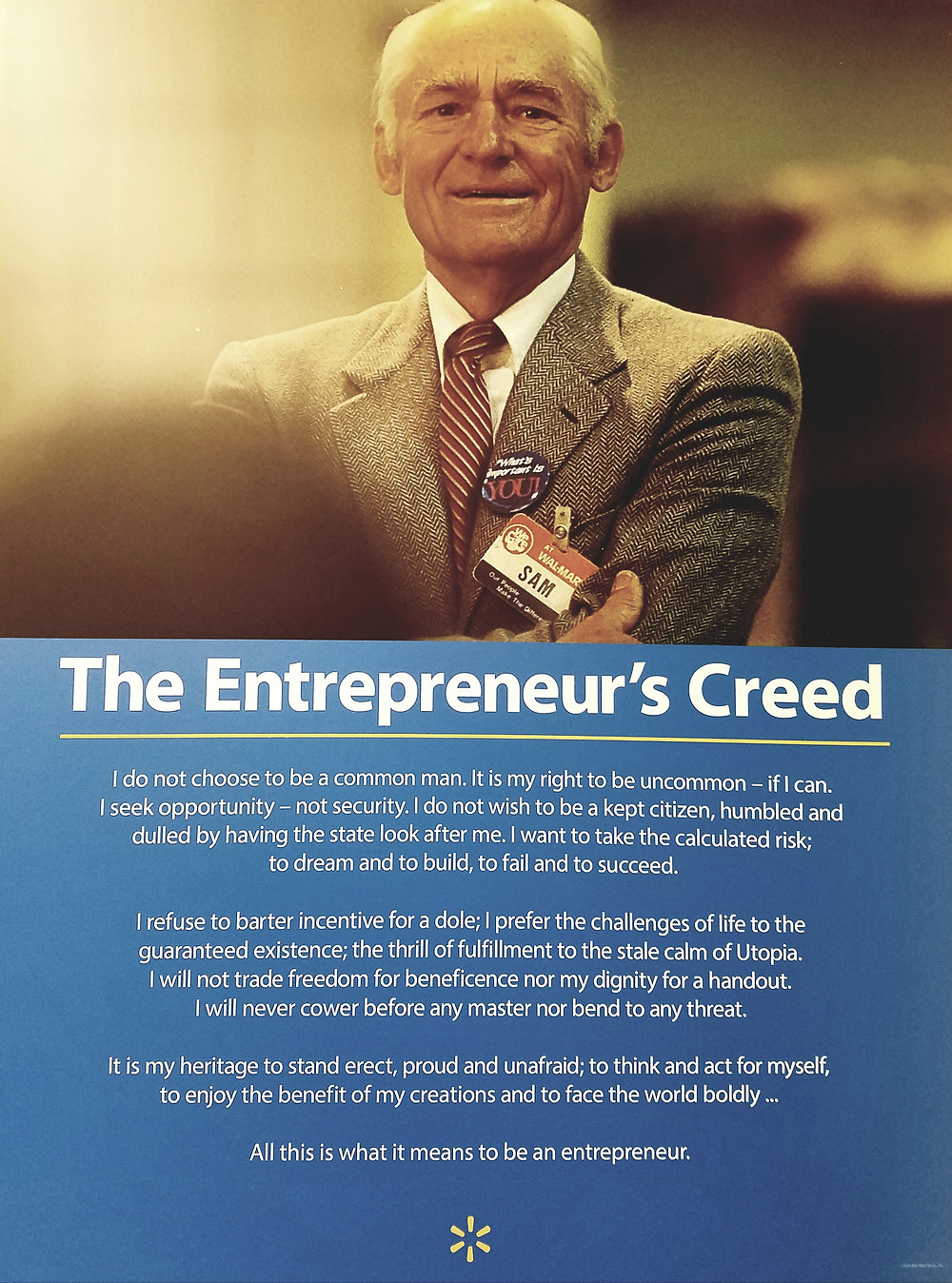 The Entrepreneur's Creed Poster in a Walmart Store
