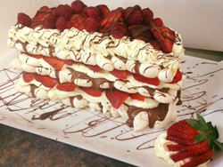 Strawberry Chocolate Meringue Torte