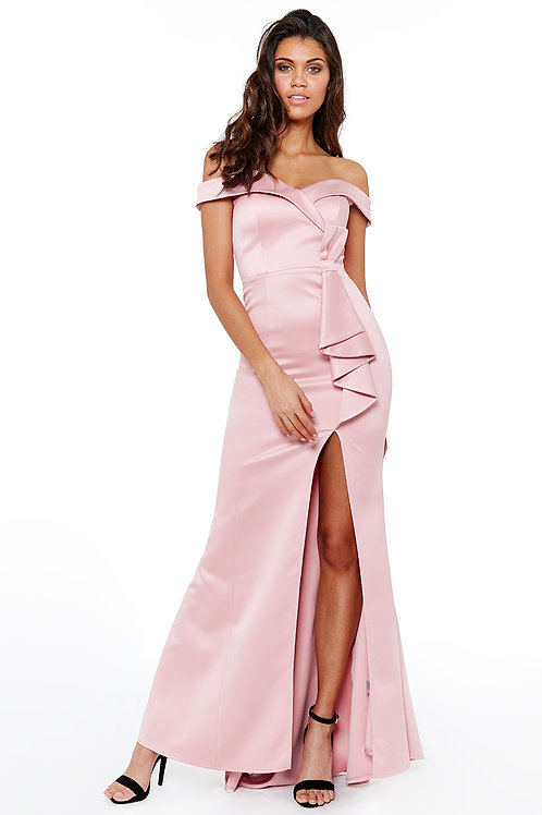 Blush Pink off the shoulder with front bow