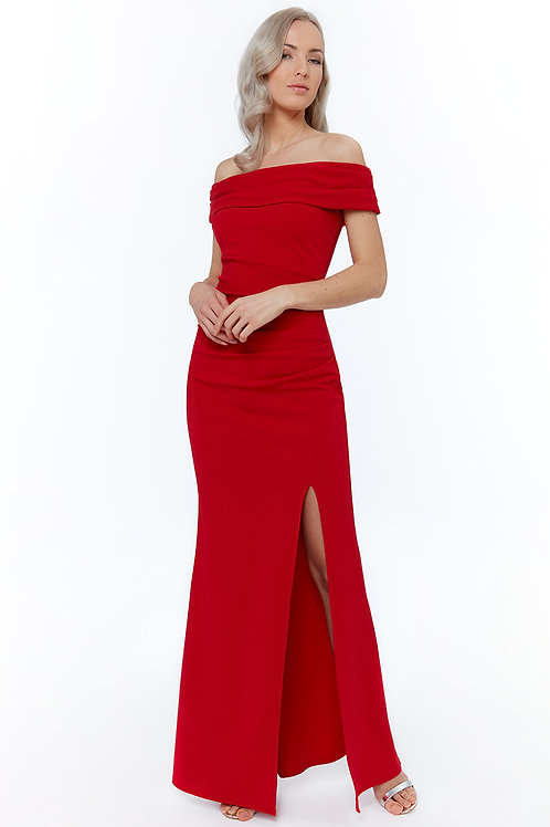 red off the shoulder with split
