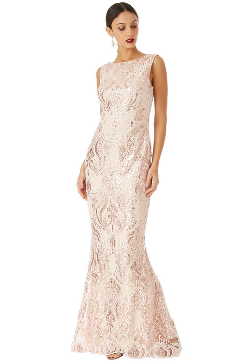 nude sequin embroidered maxi