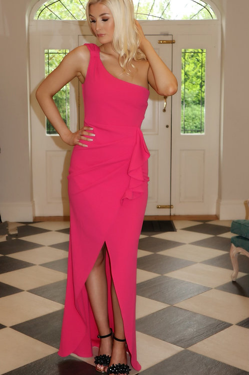 cerise pink one shoulder with frill pleat
