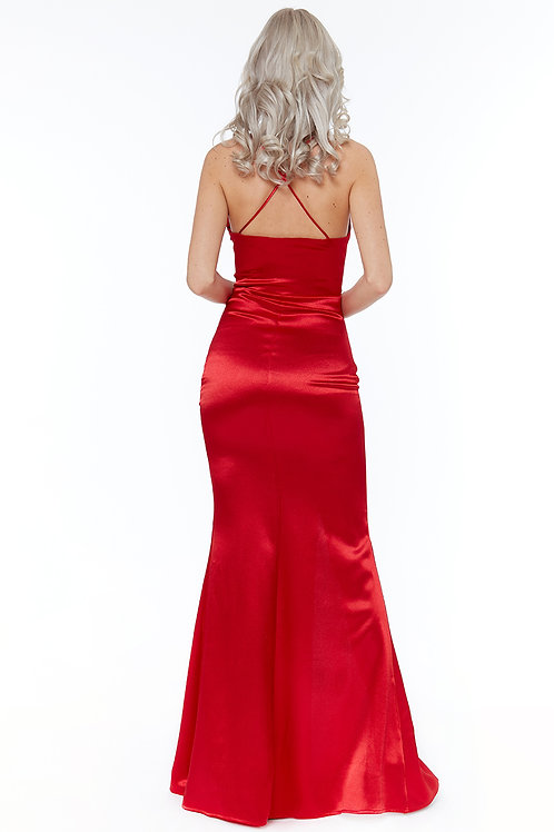Red satin with ruffle to front spagetti straps