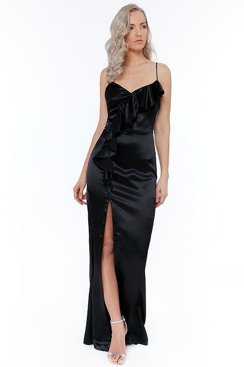 Black satin with ruffle front