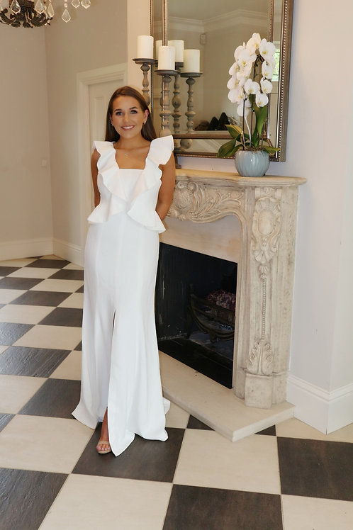 white Oscar style dress with ruffles