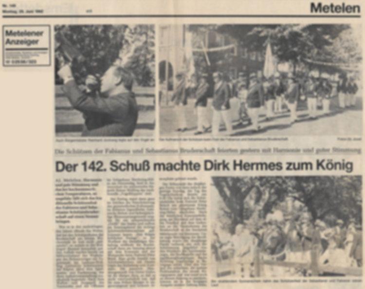 Zeitungsausschnitt von der Münsterischen Zeitung vom Montag, den 29. Juni 1992