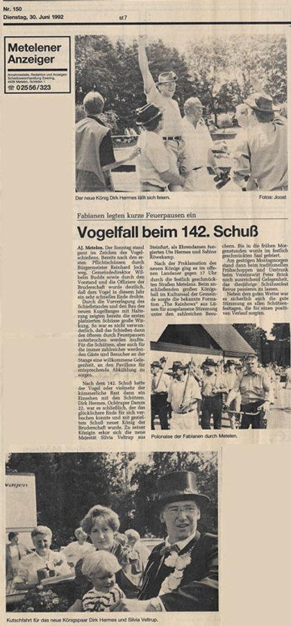 Zeitungsausschnitt von der Münsterischen Zeitung vom Dienstag, den 30. Juni 1992